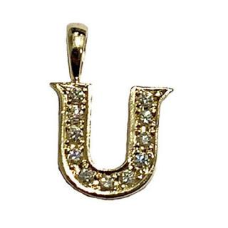 アイファニー(EYEFUNNY)のアイファニー ダイヤモンド アルファベット U 18KYG 美品 【中古】(ネックレス)