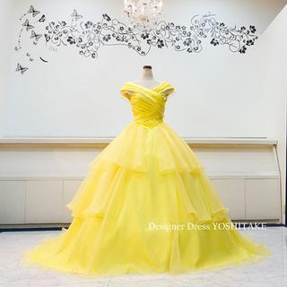 ベルドレス/レモンイエローウエディングプリンセスドレス披露宴(パニエ無料)(ウェディングドレス)