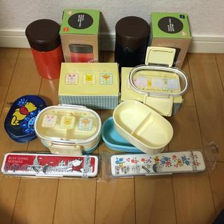 クマノプーサン(くまのプーさん)のくまのプーさんお弁当箱、箸スプーンコンビセット、スープポット 計6点+おまけ1点(弁当用品)