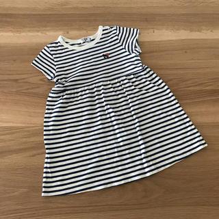 ミキハウス ダブルビー 半袖Tシャツワンピース  ボーダー  90