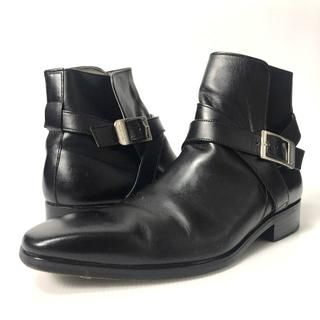 バーバリーブラックレーベル(BURBERRY BLACK LABEL)の【H】バーバリーブラックレーベル レザー ジョッパーブーツ 靴 黒 26cm(ドレス/ビジネス)