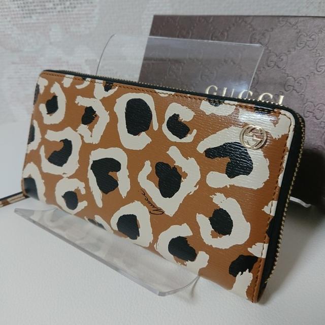 Gucci - 美品★GUCCI★グッチ★レオパード ラウンド ファスナー 長財布の通販