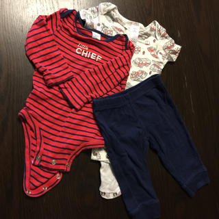 carter's 長袖&半袖ロンパース パンツ 3点セット 6M(ロンパース)