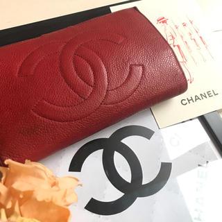 CHANEL - でかココマーク♡CHANEL赤 財布