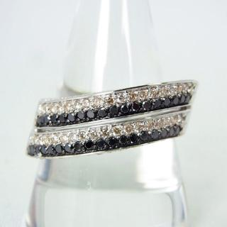 750WG ブラック、無色 ダイヤモンド リング 23号[g172-13] (リング(指輪))