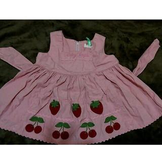 シャーリーテンプル(Shirley Temple)のシャーリーテンプル 苺 さくらんぼ ジャンパースカート 90cm(スカート)
