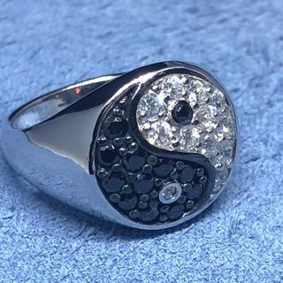 陰陽 オーバル シルバー925リング シグネット 最強 風水 印台 銀指輪ギフト(リング(指輪))