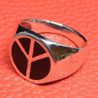 ピース オーバル 印台 平和 シルバー925リング 愛 銀 指輪 ユニセックス(リング(指輪))