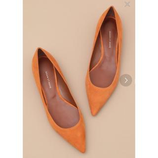 フラット パンプス フラットシューズ 靴 25 オレンジ