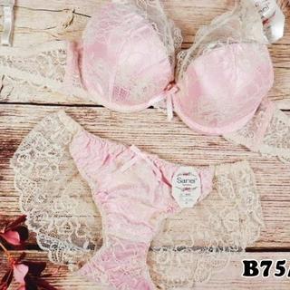 SE43★B75 M★美胸ブラ レースバックショーツ 谷間メイク ピンク(ブラ&ショーツセット)