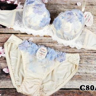 SE45★C80 L★美胸ブラ ショーツ Wパッド ローズ刺繍 クリーム(ブラ&ショーツセット)