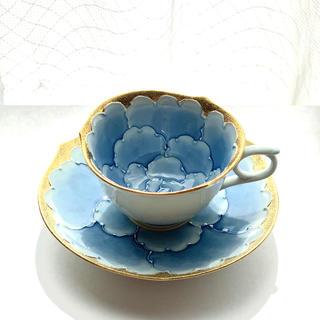 有田焼 文山窯 プラチナ牡丹金彩コーヒーカップ&ソーサー(グラス/カップ)