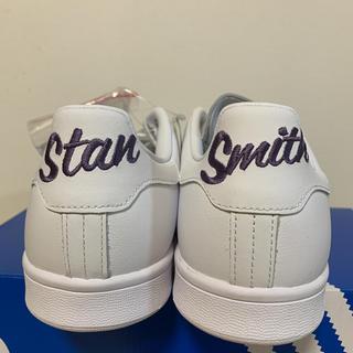 アディダス(adidas)の新品 アディダス スタンスミス 刺繍 パープル 紫 紐付き 27(スニーカー)