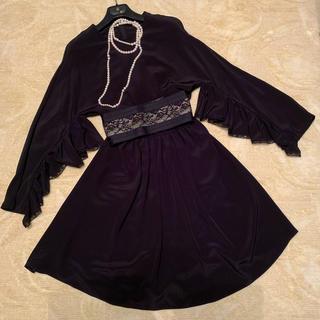 プラダ(PRADA)のプラダ PRADA シルクドレス ワンピース 42 黒 ブラック NERO 美品(ひざ丈ワンピース)