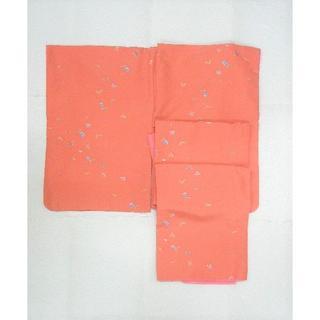 119 化繊 オレンジピンク地 飛び柄小花 袷小紋(着物)