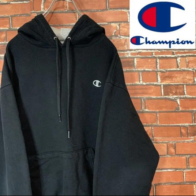 Champion(チャンピオン)の《ワンポイント刺繍》チャンピオン パーカー フーディー ブラック 2XL メンズのトップス(パーカー)の商品写真