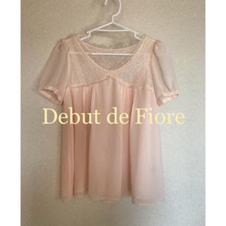 デビュードフィオレ(Debut de Fiore)の【Debut de Fiore】ピンク半袖カットソー(カットソー(半袖/袖なし))