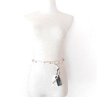 ムルーア(MURUA)のムルーア ハード ロック 本革レザー 円錐スタッズ細ベルト 真っ白 新品(ベルト)
