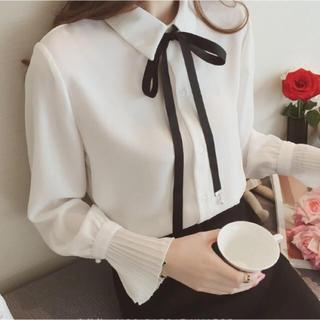 GU - リボンプリーツ袖ブラウス(ホワイト)