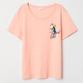 エイチアンドエム(H&M)のH&M バード 鳥 オレンジ Tシャツ ナチュラル カジュアル (Tシャツ(半袖/袖なし))