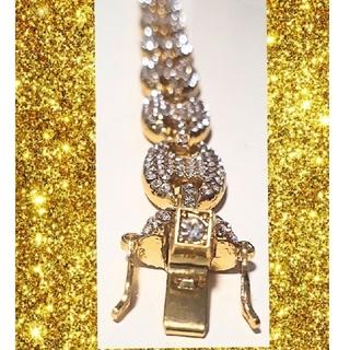 アヴァランチ(AVALANCHE)のゴールドカラー ジルコニアブレスレット パフグッチ(アンカーチェーン)(ブレスレット)