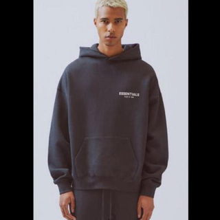 FEAR OF GOD - 黒M FEAR OF GOD ESSENTIALS Logo Pullover