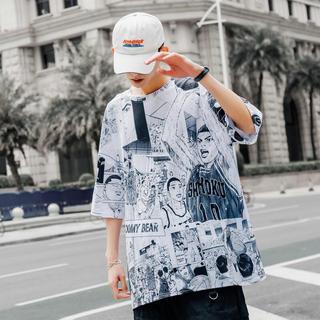 【新品】ビッグシルエット プリント Tシャツ 男女兼用(Tシャツ(半袖/袖なし))