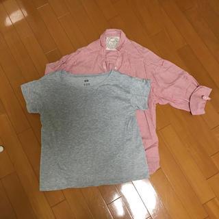 セポ(CEPO)のcepoストライプシャツとユニクロエアリズム 半袖(シャツ/ブラウス(長袖/七分))