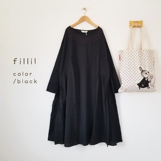 merlot - 春の新作*fillil クロスステッチ刺繍ワンピース ブラック