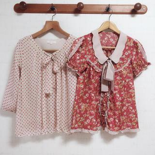 axes femme - ブラウス2点セット(アクシーズファム,シューラルー) 春服 夏服 半袖 7分丈