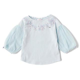 メゾピアノ(mezzo piano)の新品 メゾピアノ 袖チュール切り替えTシャツ 110(Tシャツ/カットソー)