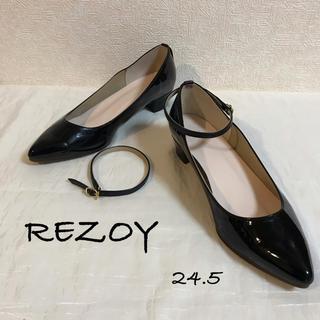 REZOY - ▩ REZOY ▩ 2Way 黒エナメル ローヒールパンプス 24.5 ▩