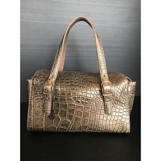 クロコダイル(Crocodile)の美品 レア JRA公認  マットクロコダイル ハンドバッグ ブロンズ(ハンドバッグ)