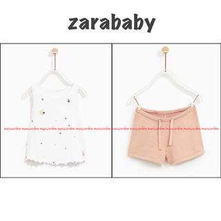ZARA KIDS - zarababy ザラベビー 刺繍 タンクトップ ニット ショートパンツ セット