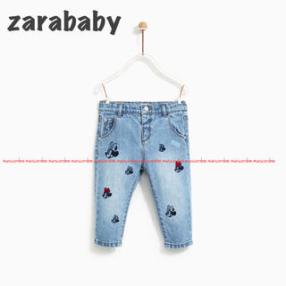 ZARA KIDS - zarababy ザラベビー ミニー 刺繍 デニム パンツ ミッキー ディズニー