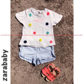 ZARA KIDS - zarababy ザラベビー カラフル ロゴ ポンポン Tシャツ 92