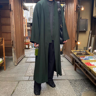 ラッドミュージシャン(LAD MUSICIAN)のLADMUSICIAN kimono long jacket 44 美品 緑(カーディガン)