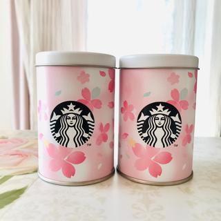 スターバックスコーヒー(Starbucks Coffee)のさくら 2020  さくらクランチチョコレート 缶 2個(小物入れ)