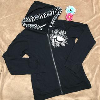 プトマヨ(PUTUMAYO)の黒 ファーアウター パーカー スカル スエット レア美品 白黒 シルバー(パーカー)