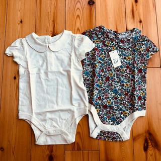 babyGAP - 新品タグ付き babygap ホワイト&花柄ロンパース2枚セット