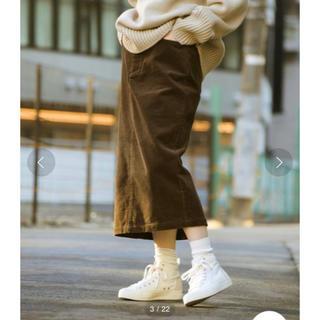 ニコアンド(niko and...)のニコアンド コーデュロイストレートロングスカート ブラウン タイトスカート(ひざ丈スカート)