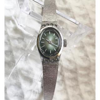 オリエント(ORIENT)のアンティークウォッチ WGP ペリドットカラー ラインストーン オリエント手巻き(腕時計)