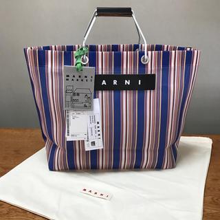 Marni - 新品 MARNI マルニ フラワーカフェ トートバッグ ブルー ストライプバッグ