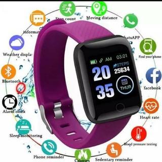 スマートウォッチ 116plus パープル 最新 歩数計 血圧 心拍数'(腕時計(デジタル))