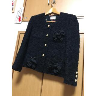 PINK HOUSE - インゲボルグ  ジャケット リボン 黒 毛 ピンクハウス カネコイサオ