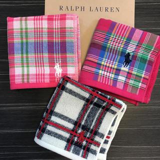 POLO RALPH LAUREN - 【新品】ラルフローレン ガーゼタオルハンカチ 3枚セット ミニタオル