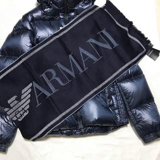 エンポリオアルマーニ(Emporio Armani)の洗練されたデザイン ネイビー 季節の変わり目に重宝します(マフラー)