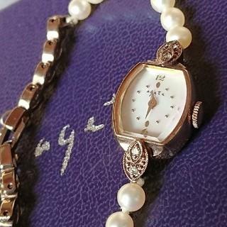 アガット(agete)の■出品月末まで■agete 美品 ダイヤ付 パール 華奢ウォッチ 箱無し(腕時計)