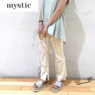 mystic - ミスティック カットリブフレアパンツ