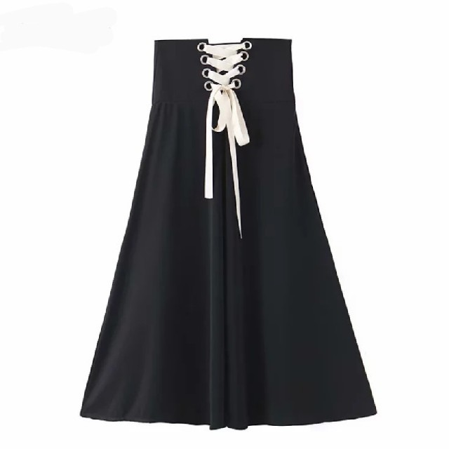 ZARA(ザラ)の【3size】バックリボン 編み上げ スカート 着痩せ効果 レディースのスカート(ロングスカート)の商品写真